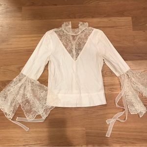 Alice + Olivia Handkerchief Sleeve Lace Blouse